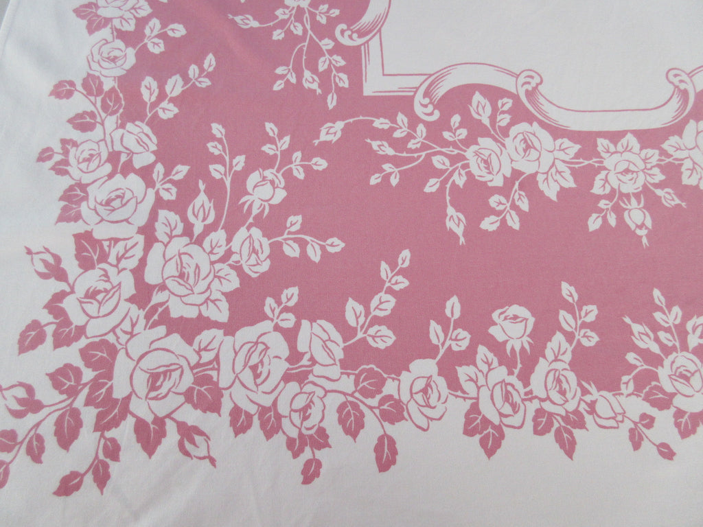 Romantic Reverse Printed Roses on Pink Floral Vintage Printed Tablecloth (59 X 57)