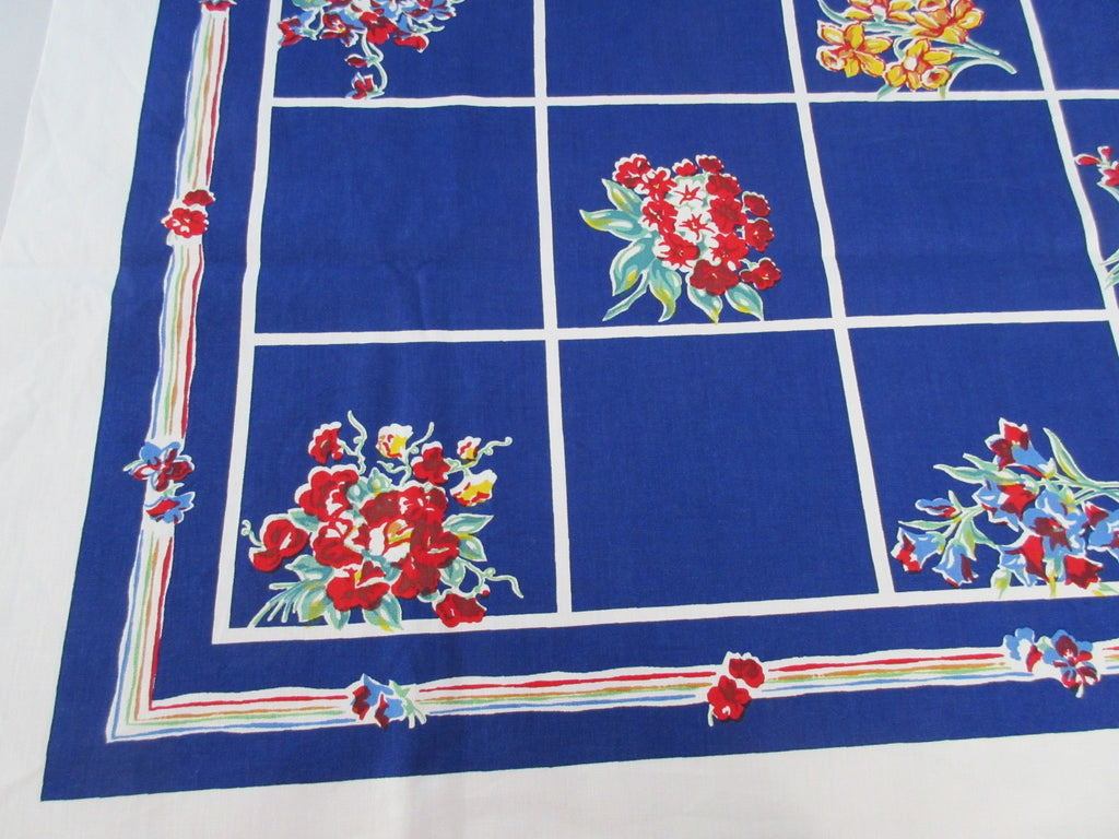 Bold Primary Flowers on Cobalt Blue Floral Vintage Printed Tablecloth (51 X 50)