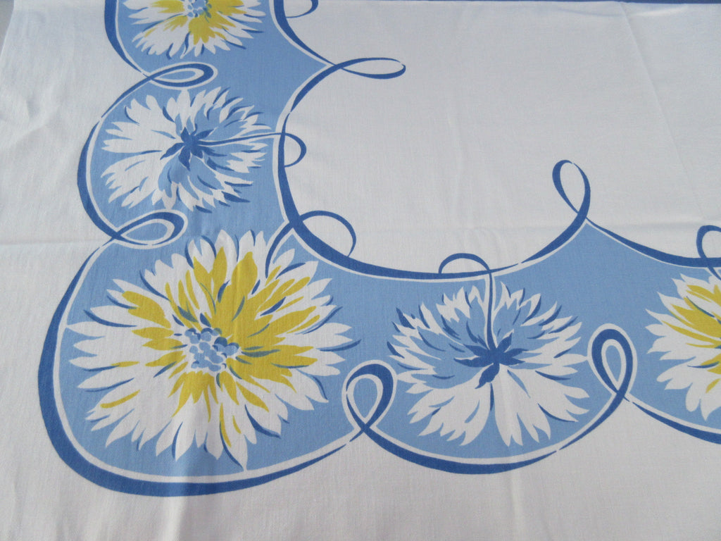 Yellow Blue Dahlias on Blue Swoops Floral Vintage Printed Tablecloth (54 X 46)