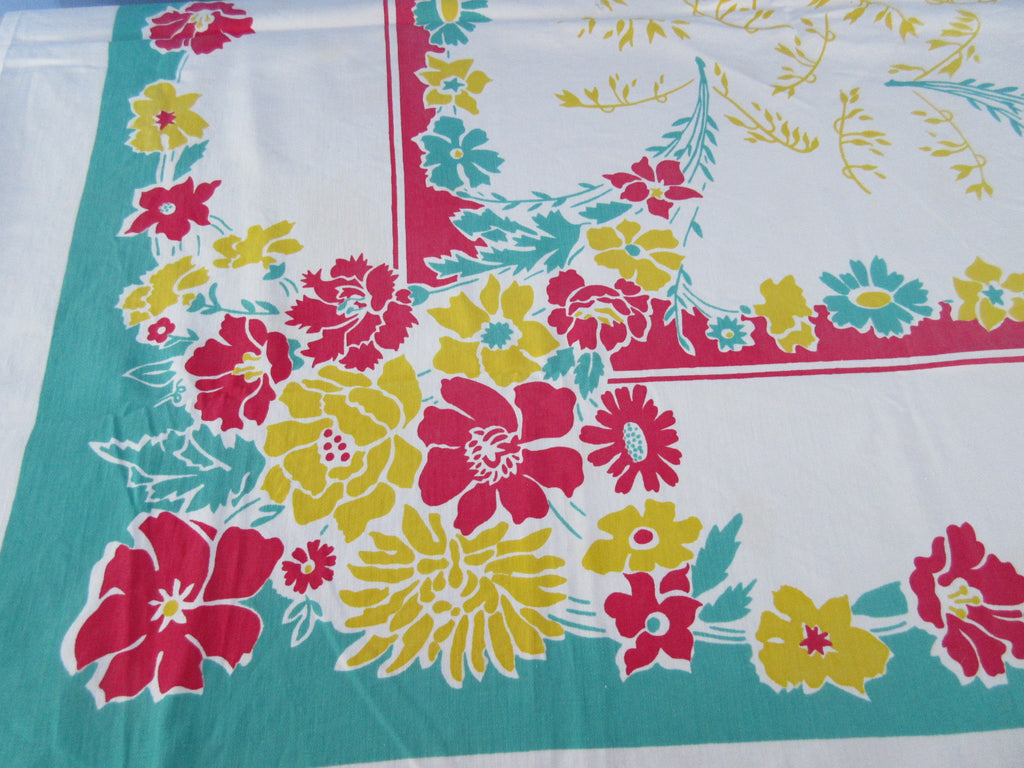 Primary Blocky Flowers on Green Cutter Floral Vintage Printed Tablecloth (49 X 48)
