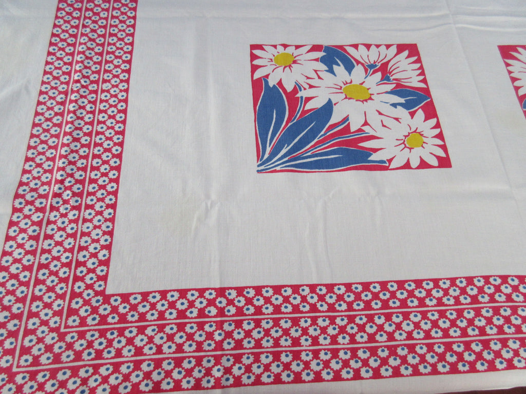 Giant Primary Daisy Squares Red Blue Yellow Floral Vintage Printed Tablecloth (55 X 46)