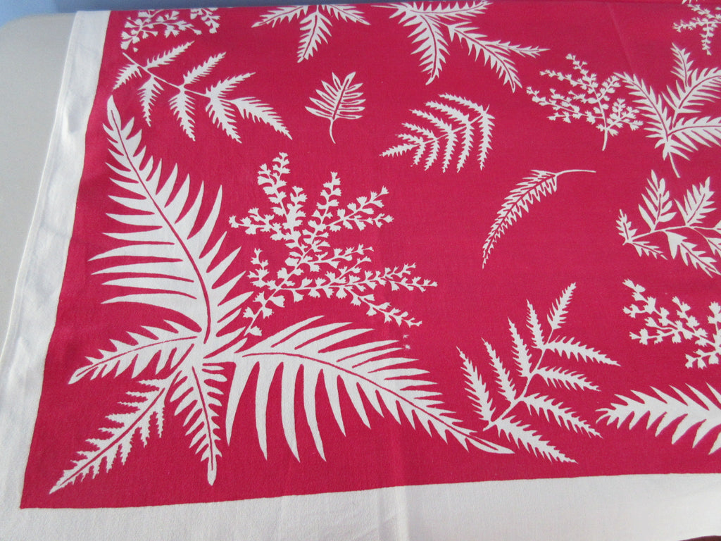 Reverse Printed Foliage Leaves on Red Floral Vintage Printed Tablecloth (50 X 50)