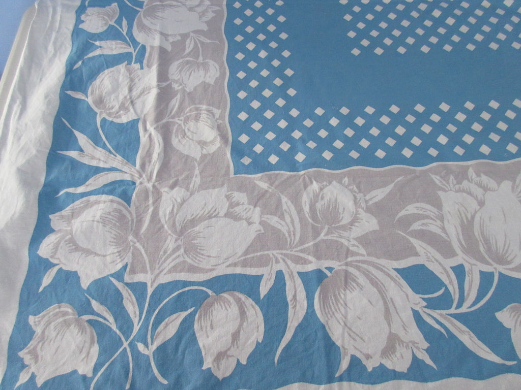 Tulips on Gray Blue Cutter Floral Vintage Printed Tablecloth (65 X 50)