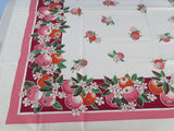 Pink Orange Oranges on Magenta CHP Fruit Vintage Printed Tablecloth (48 X 45)