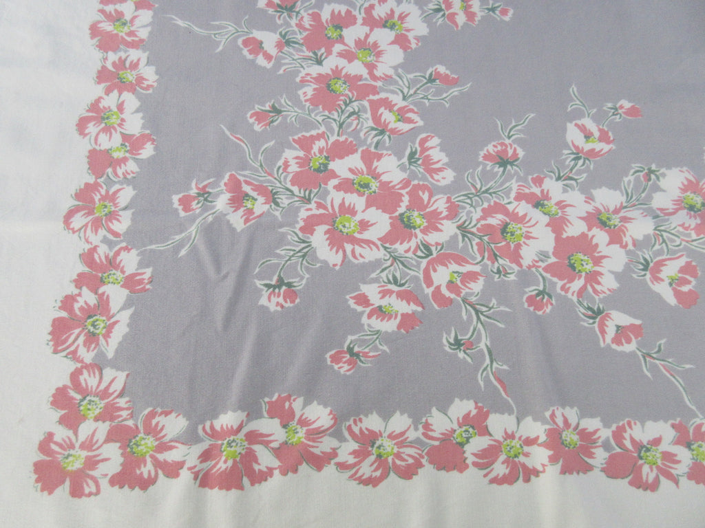Shabby Peachy Pink Carnations on Gray Floral Vintage Printed Tablecloth (51 X 43)