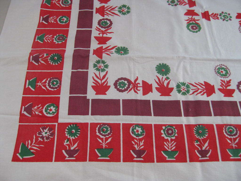Red Green Magenta Geometric Flower Pots Floral Vintage Printed Tablecloth (52 X 51)