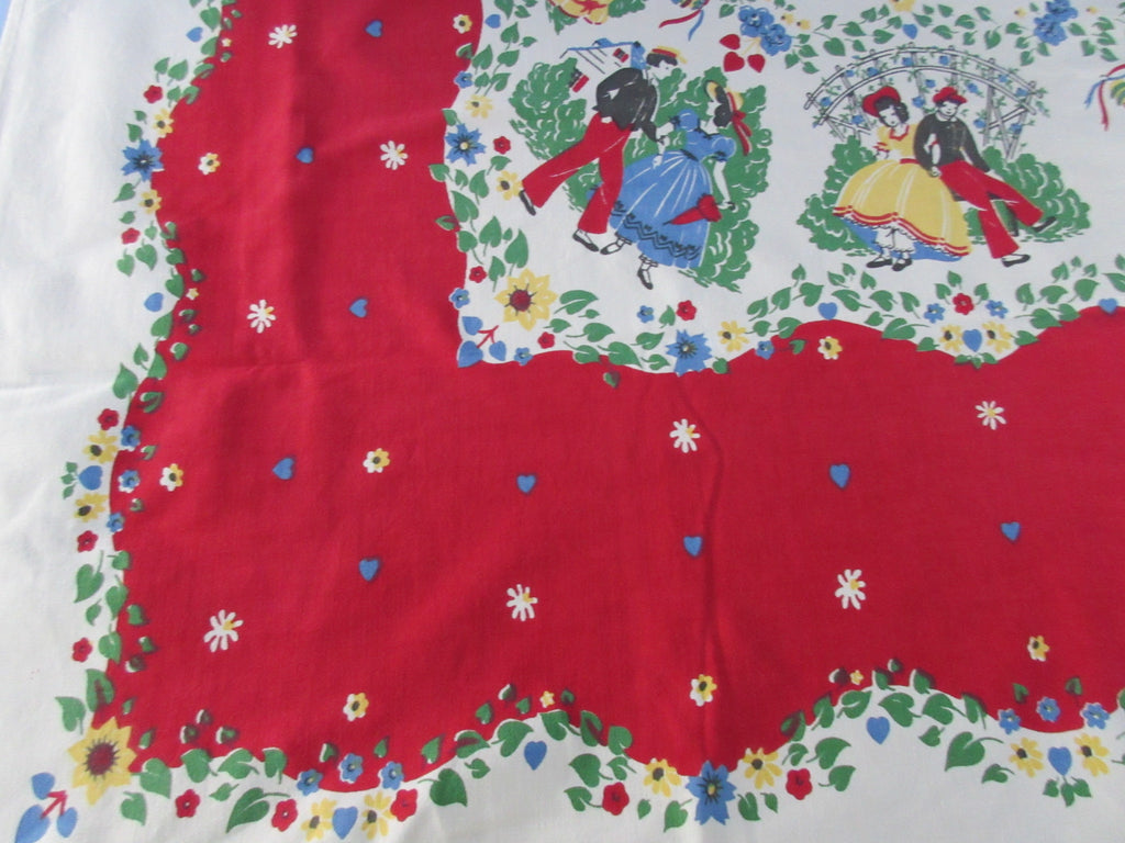 Hearts and Flowers Courting Couple Cutter? Novelty Vintage Printed Tablecloth (62 X 53)