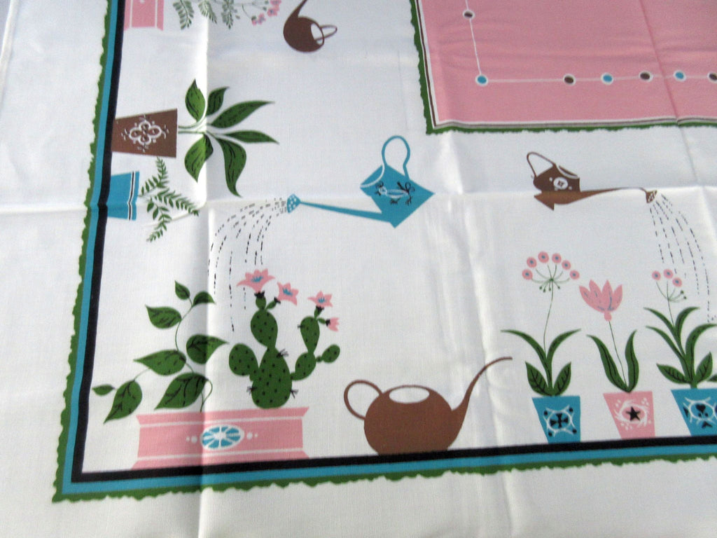 Sweet Plant Pots Watering Can MWT Novelty Vintage Printed Tablecloth (52 X 51)