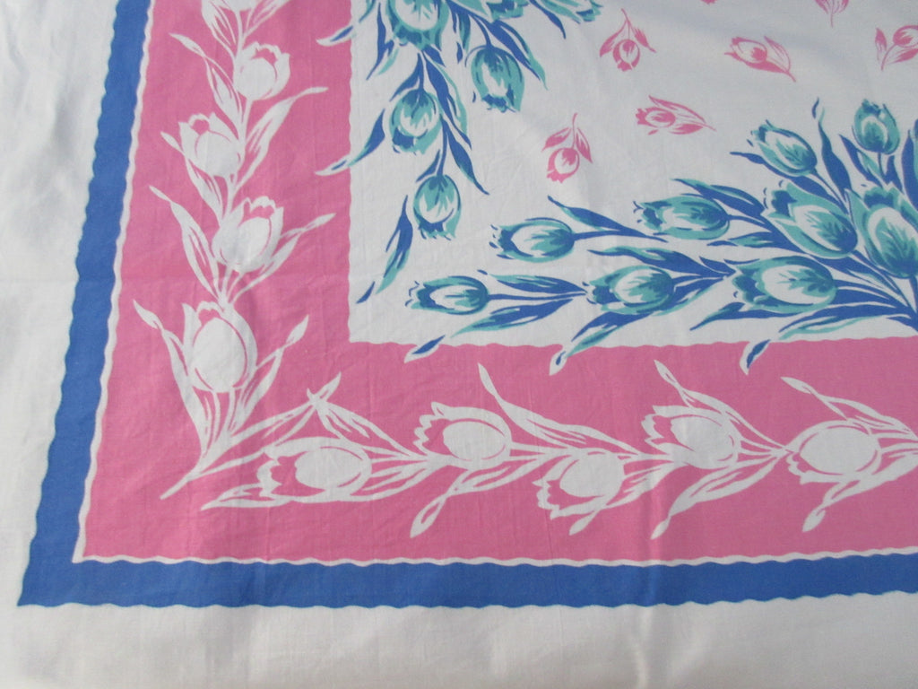Aqua Tulips on Pink Blue Floral Vintage Printed Tablecloth (52 X 46)