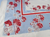 Red Gray Geraniums on Blue Floral Vintage Printed Tablecloth (66 X 51)