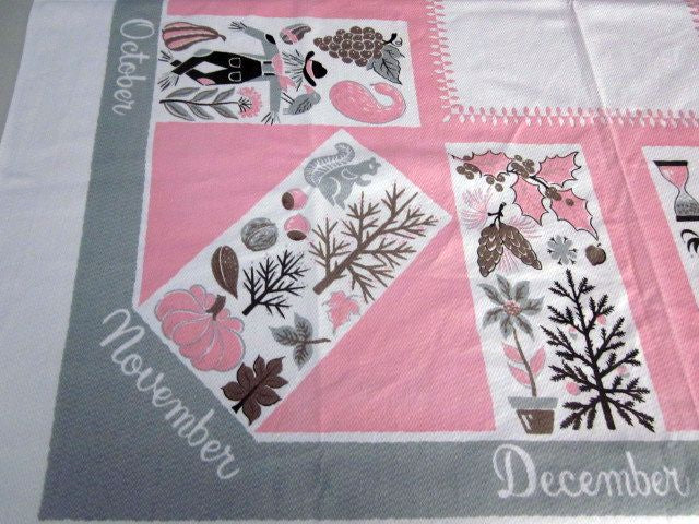 Pink Gray Calendar Months Novelty Vintage Printed Tablecloth (54 X 48)