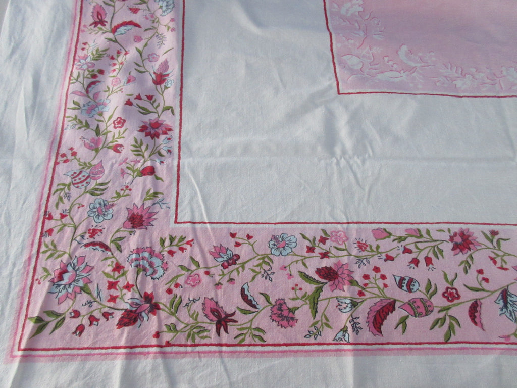 Jacobean Floral on Pink Cutter? Startex Vintage Printed Tablecloth (53 X 44)