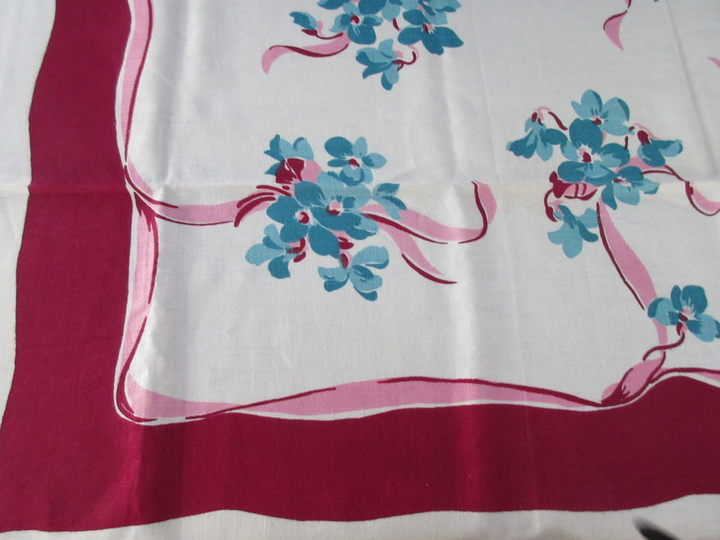 Aqua Violets Pink Ribbons on Magenta MWT Napkins Vintage Printed Tablecloth (50 X 50)