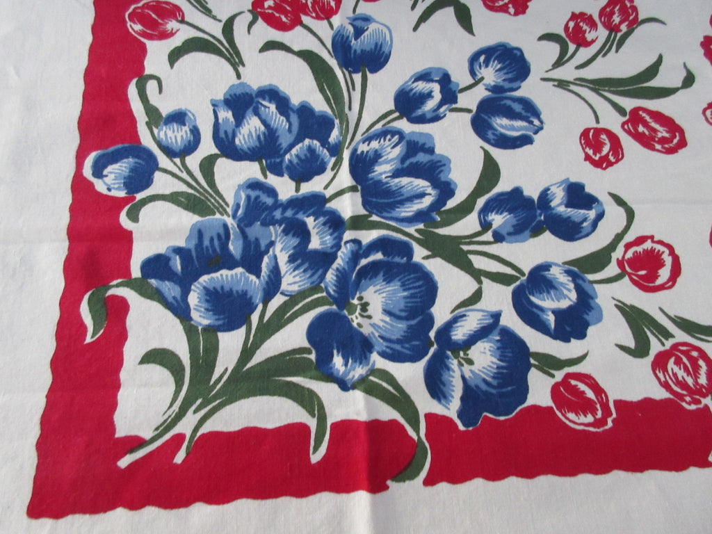 Red Blue Tulips on Red Unused Vintage Printed Tablecloth (51 X 48)