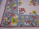 Pink Yellow Green Iris on Gray Floral Vintage Printed Tablecloth (52 X 45)