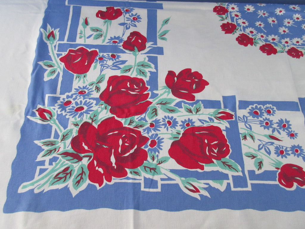 Red Roses on Blue Trellis Floral Vintage Printed Tablecloth (58 X 45)