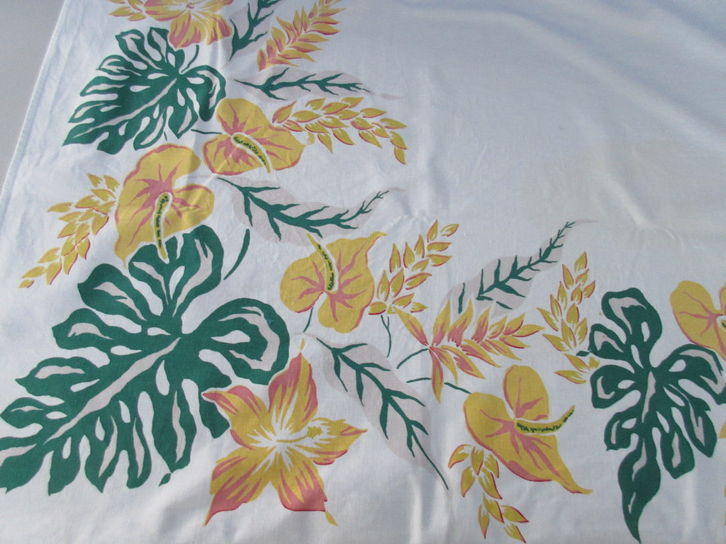 Simtex Anthurium Tropical Floral Cutter? Vintage Printed Tablecloth (62 X 52)