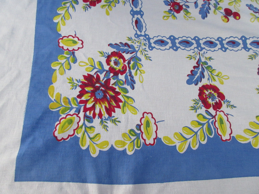 Large Early Primary Floral on Blue Vintage Printed Tablecloth (76 X 68)