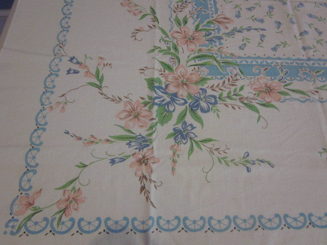 Delicate Pastel Pink Blue Green Floral Vintage Printed Tablecloth (48 X 46)