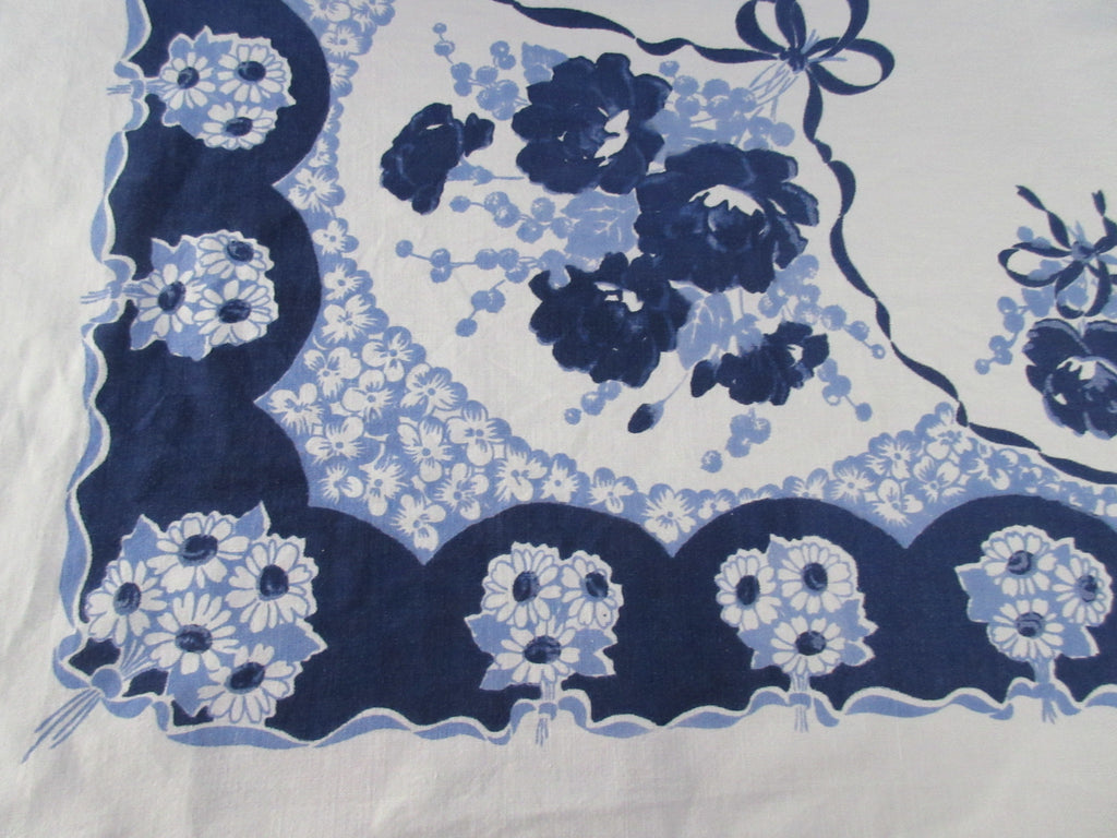 Unusual Early Blue on Blue Daisies Roses Floral Vintage Printed Tablecloth (50 X 45)