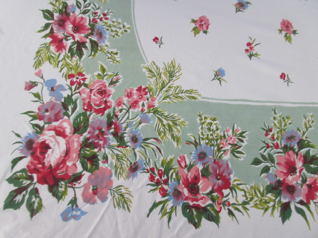 Larger Pastel Roses on Green Floral Vintage Printed Tablecloth (70 X 60)
