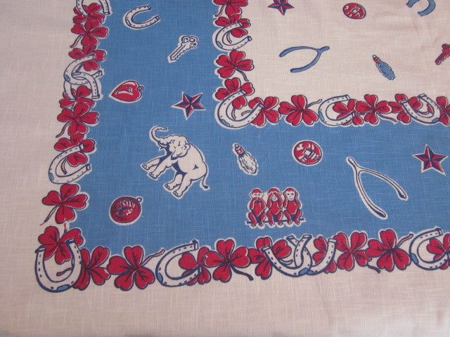 HTF Blue Red Lucky Charms Novelty Vintage Printed Tablecloth (49 X 45)