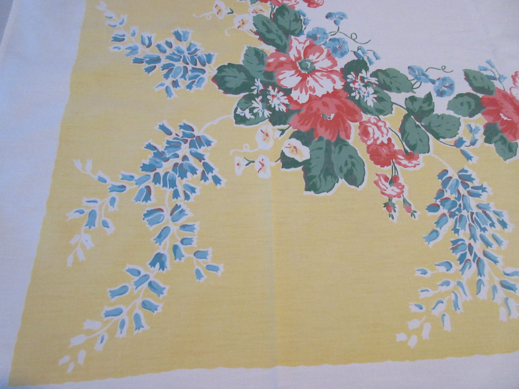 Coral Dahlias Roses on Yellow Floral Vintage Printed Tablecloth (53 X 49)