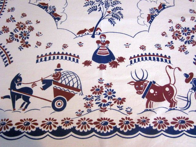 HTF Broderie Farmers Pigs Novelty Vintage Printed Tablecloth (46 X 45)