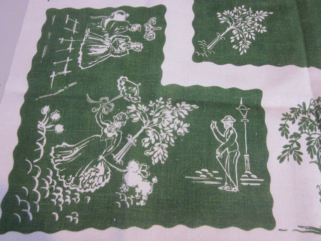 Victorian People Courting Dogs Novelty Topper Vintage Printed Tablecloth (35 X 34)
