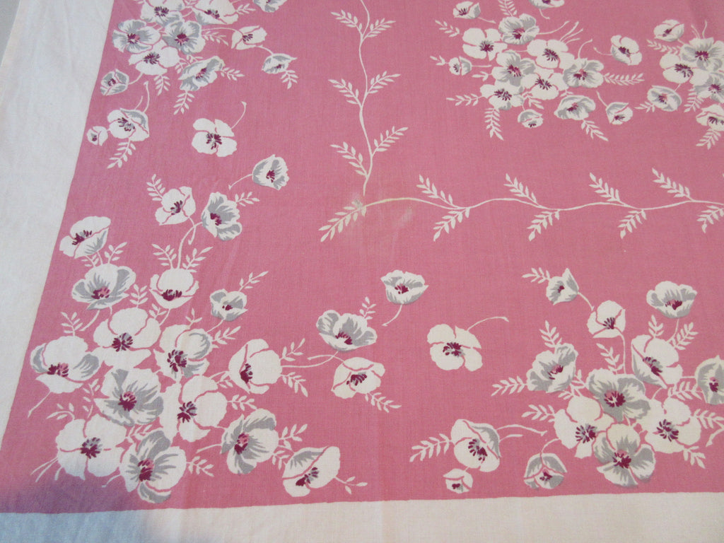 Poppies on Pink Cutter Floral Vintage Printed Tablecloth (49 X 47)