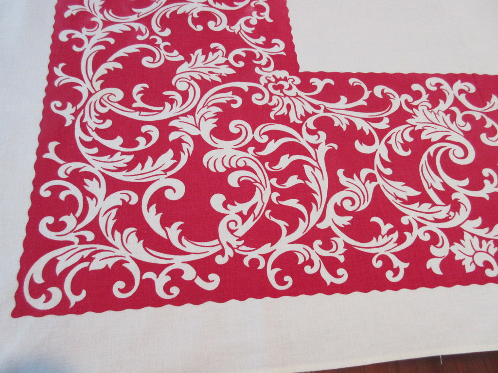 Reverse Printed Scrolls on Red Novelty Vintage Printed Tablecloth