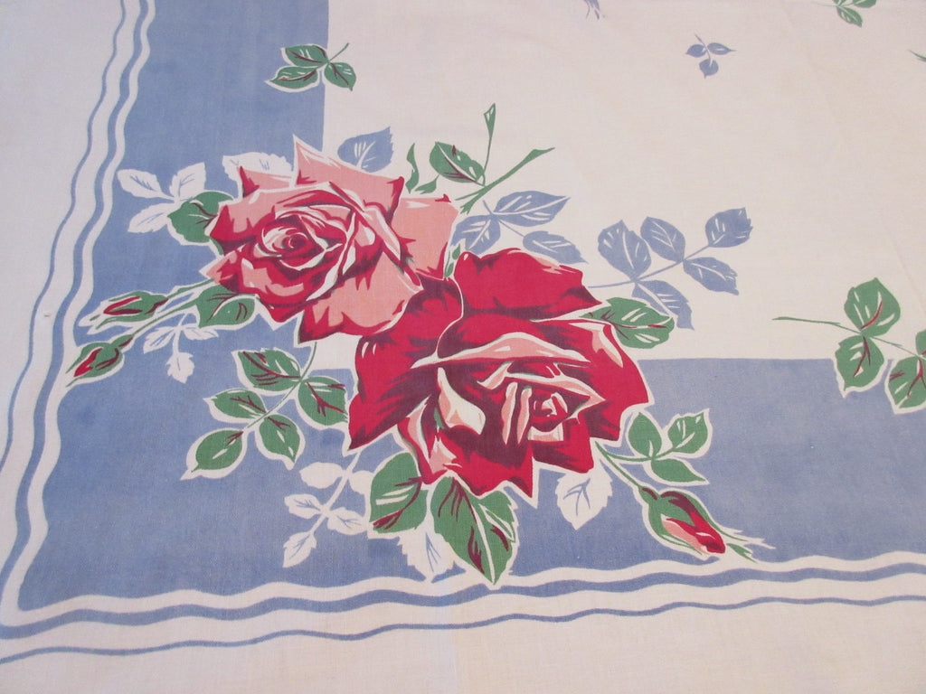 Pink Roses on Blue Cutter Floral Vintage Printed Tablecloth (51 X 46)