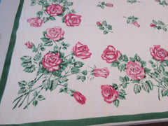 Large Pink Roses Green Linen Napkins Floral Vintage Printed Tablecloth (90 X 61)