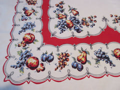 Primary Blue Yellow Fruit on Red Black Vintage Printed Tablecloth (69 X 54)