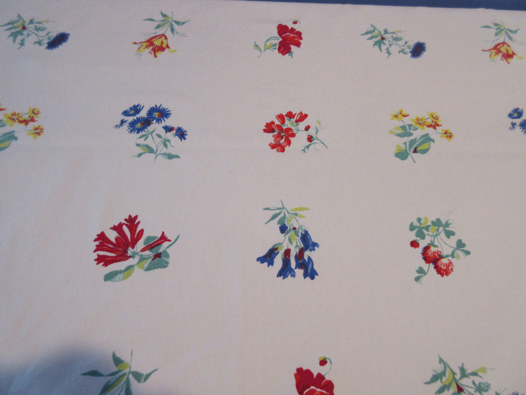 Wilendur Primary Wildflower Array Floral Cutter Vintage Printed Tablecloth (54 X 48)