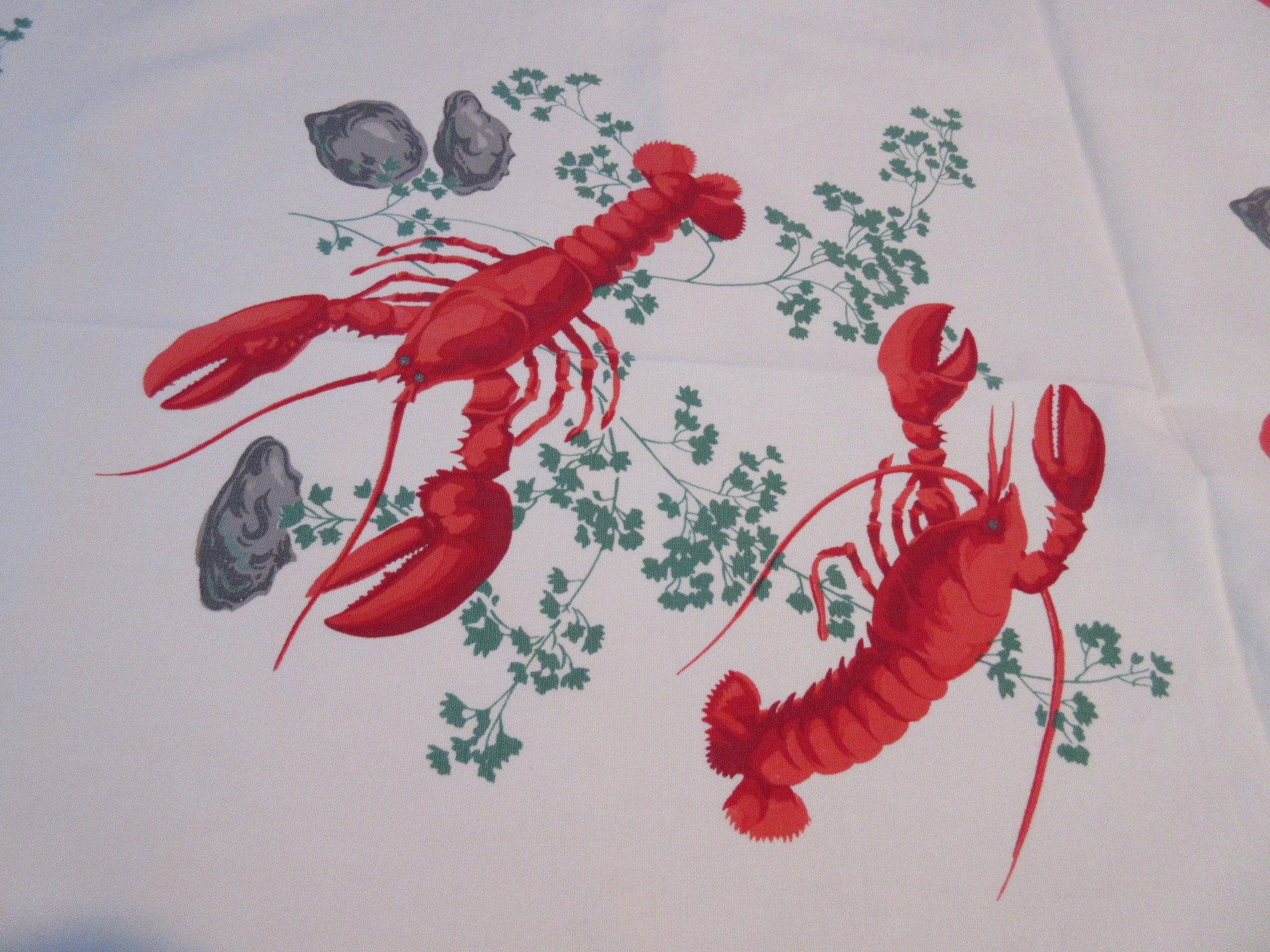Wilendur Lobster Clam Summer HTF Novelty Vintage Printed Tablecloth (67 X 54)