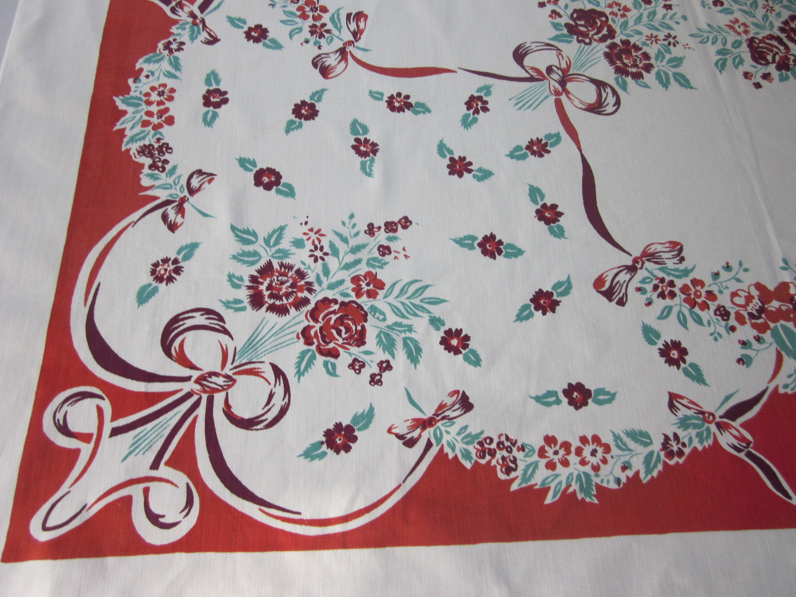Magenta Green Flowers Ribbons on Red Floral Vintage Printed Tablecloth (49 X 47)