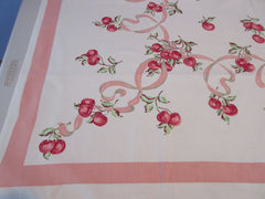 Pink Cherries Ribbons Napkins Fruit Vintage Printed Tablecloth (52 X 48)