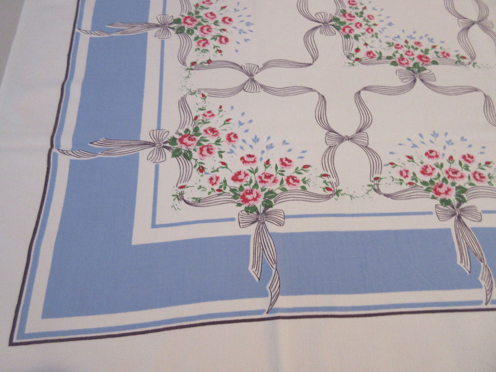 Pink Roses Black on French Blue Floral Vintage Printed Tablecloth (52 X 46)