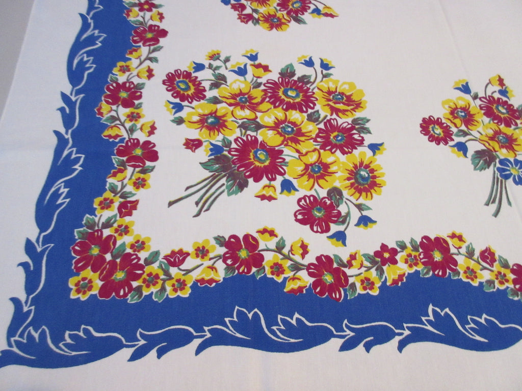 Magenta Yellow Daisies on Blue Floral Vintage Printed Tablecloth (49 X 48)