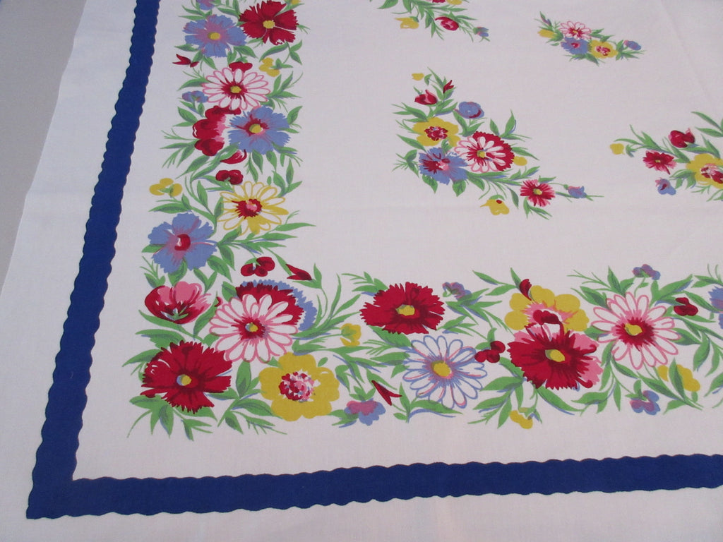 Wilendur Pastel Daisies Carnations on Blue Floral Vintage Printed Tablecloth (54 X 49)