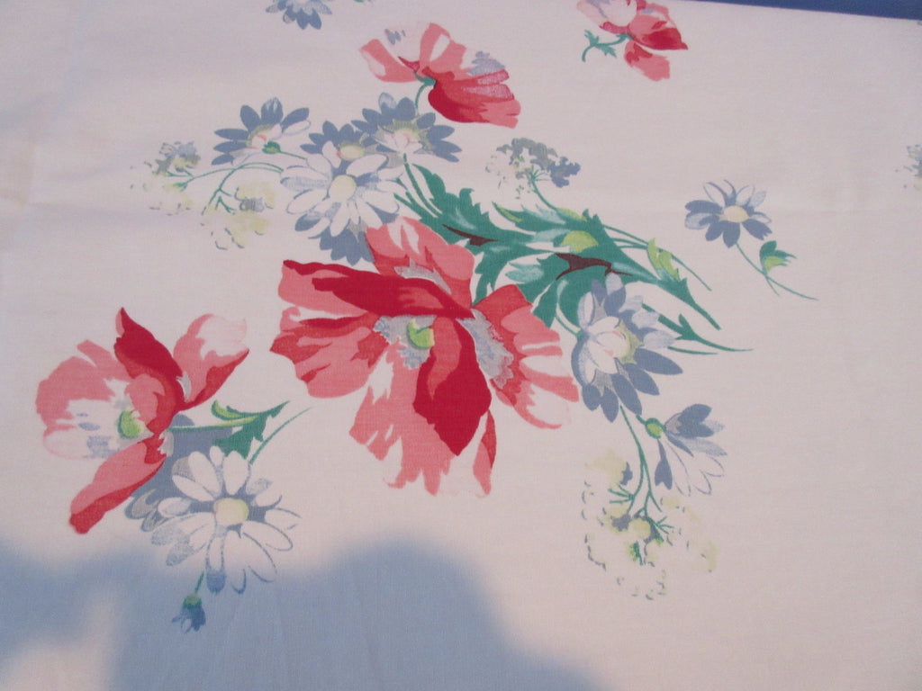 Wilendur Pink Poppy Gray Daisy Array Floral Vintage Printed Tablecloth (65 X 54)