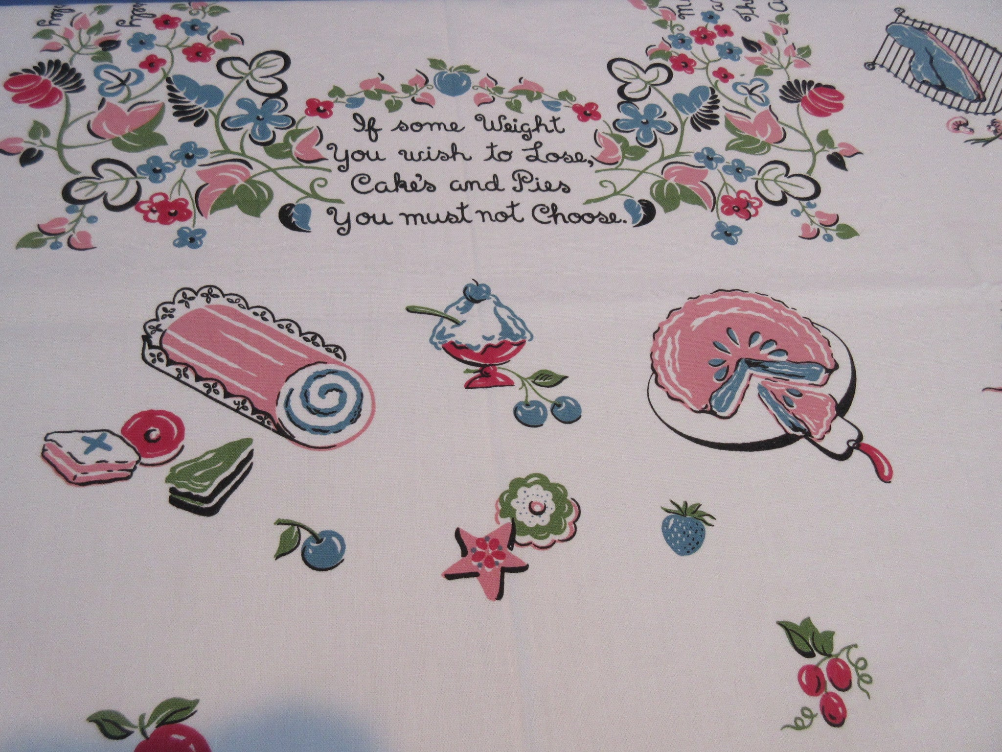 Marge Diet Poem Bright Food Novelty Vintage Printed Tablecloth (49 X 48)