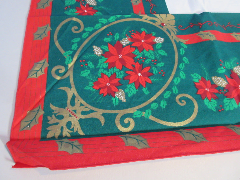 SQUARE 52x52 Christmas Victoriana NOS Retro Printed Tablecloth (54 X 54 actual)