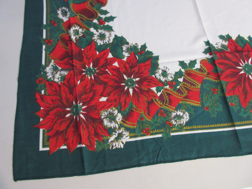 RECTANGLE 70x52 Christmas Poinsettias NOS Retro Printed Tablecloth (70 X 51 actual)