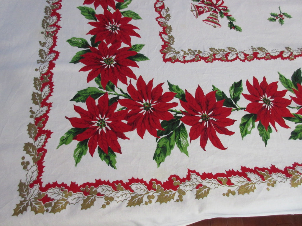 Christmas Golden Holly Poinsettias Vintage Printed Tablecloth (65 X 52)