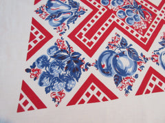 Early Patriotic Geometric Fruit Red Blue Vintage Printed Tablecloth (66 X 56)