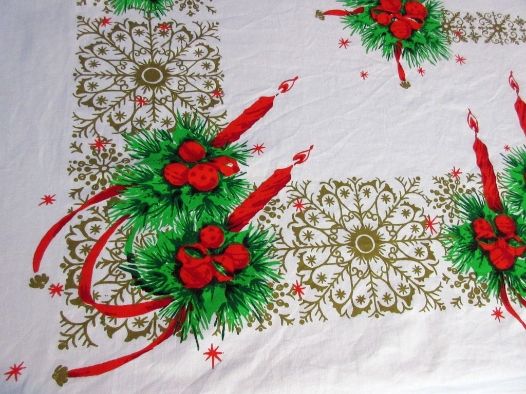 Christmas Candles and Lace Vintage Printed Tablecloth (53 X 48)