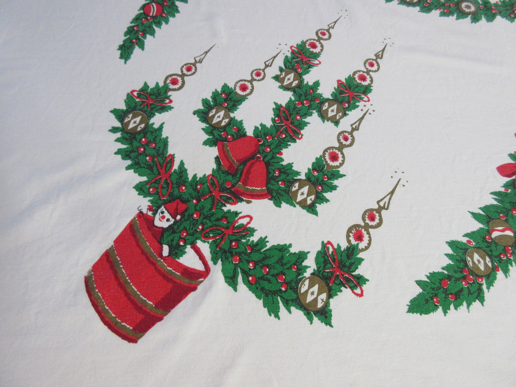 Christmas Santa Tree Toppers Vintage Printed Tablecloth (67 X 60)