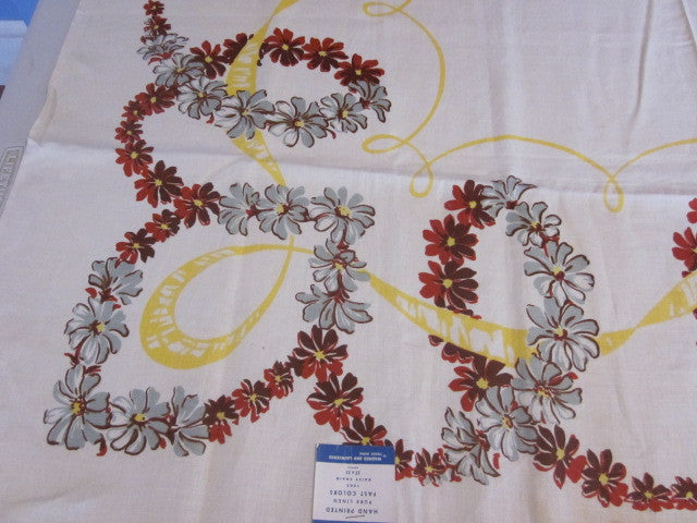 Fall Daisy Floral Ribbons MWT Vintage Printed Tablecloth (52 X 51)